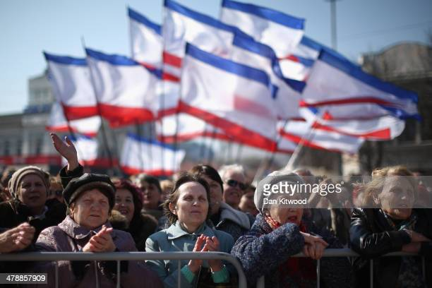 Pro Russian supporters rally in Lenin Square on March 15, 2014 in Simferopol, Ukraine. As the standoff between the Russian military and Ukrainian...