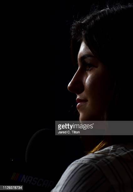 Pro Series driver Hailie Deegan speaks during the Monster Energy NASCAR Cup Series 61st Annual Daytona 500 Media Day at Daytona International...