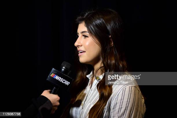 Pro Series driver Hailie Deegan speaks with the media during the Monster Energy NASCAR Cup Series 61st Annual Daytona 500 Media Day at Daytona...