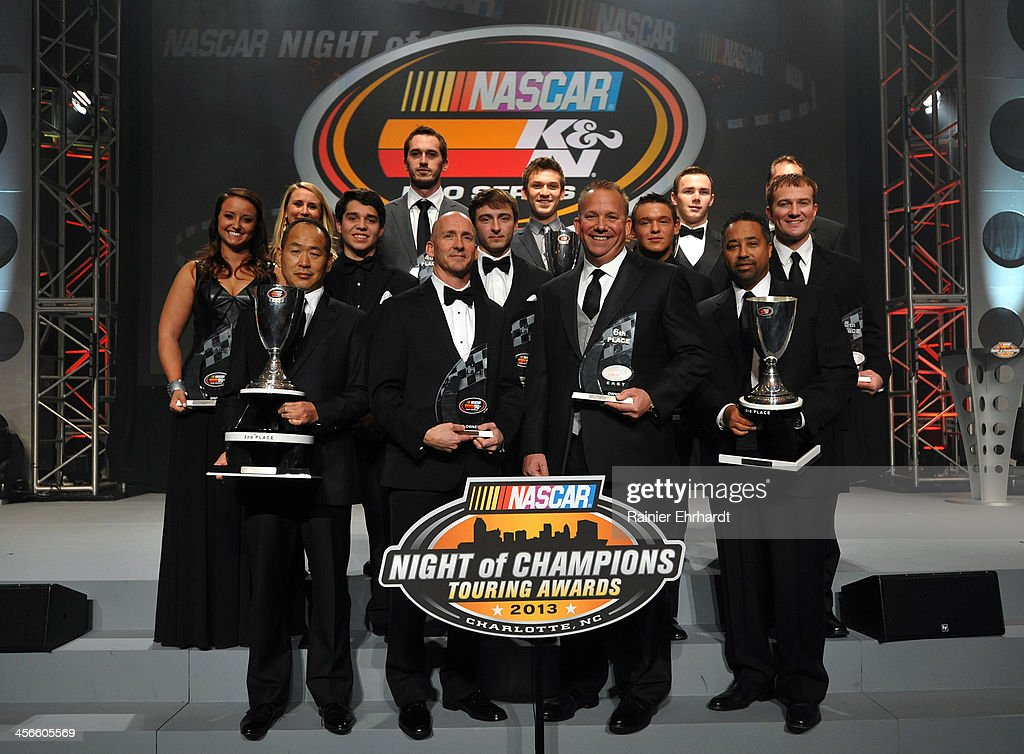 Pro Series East second through tenth place finishers and top three team owners pose for a photograph during the NASCAR Night of Champions at Charlotte Convention Center on December 14, 2013 in Charlotte, North Carolina.