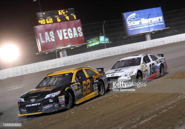 Pro Series West driver Brendan Gaughan and K N Pro Series West driver Hailie Deegan Toyota Camry Toyota Camry drive through turn three during the...