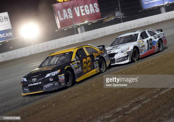 Pro Series West driver Brendan Gaughan Toyota Camry and K N Pro Series West driver Hailie Deegan Toyota Camry drive through turn 3 during the NASCAR...