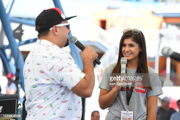 Pro Series West driver Hailie Deegan during a driver appearance in the Neon Garage during practice for the South Point 400 Monster Energy NASCAR Cup...