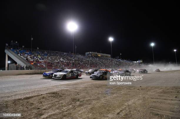 Pro Series West driver Hailie Deegan Toyota Camry leads the field during a pace lap during the NASCAR KN West Series Star Nursery 100 on September 13...