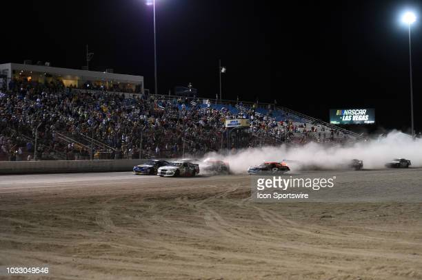 Pro Series West driver Hailie Deegan Toyota Camry leads the field across the starting line for the start of the race during the NASCAR KN West Series...