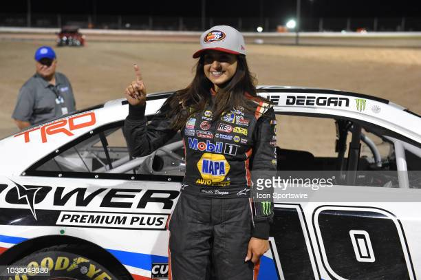 Pro Series West driver Hailie Deegan Toyota Camry poses for a photo after capturing the pole during the NASCAR KN West Series Star Nursery 100 on...