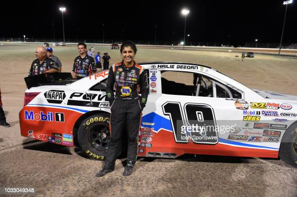 Pro Series West driver Hailie Deegan Toyota Camry stands next to her car during driver intros during the NASCAR KN West Series Star Nursery 100 on...