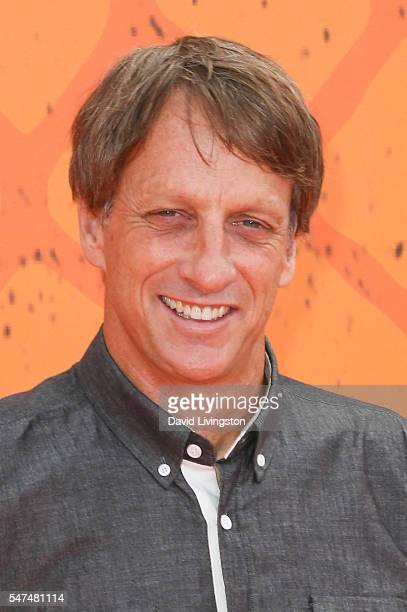 Pro skateboarder Tony Hawk arrives at the Nickelodeon Kids' Choice Sports Awards 2016 at the UCLA's Pauley Pavilion on July 14 2016 in Westwood...
