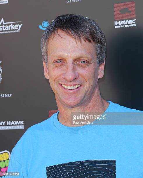 Pro Skateboarder Tony Hawk attends the 10th Annual Stand Up For Skateparks benefiting the Tony Hawk Foundation on October 5 2013 in Beverly Hills...