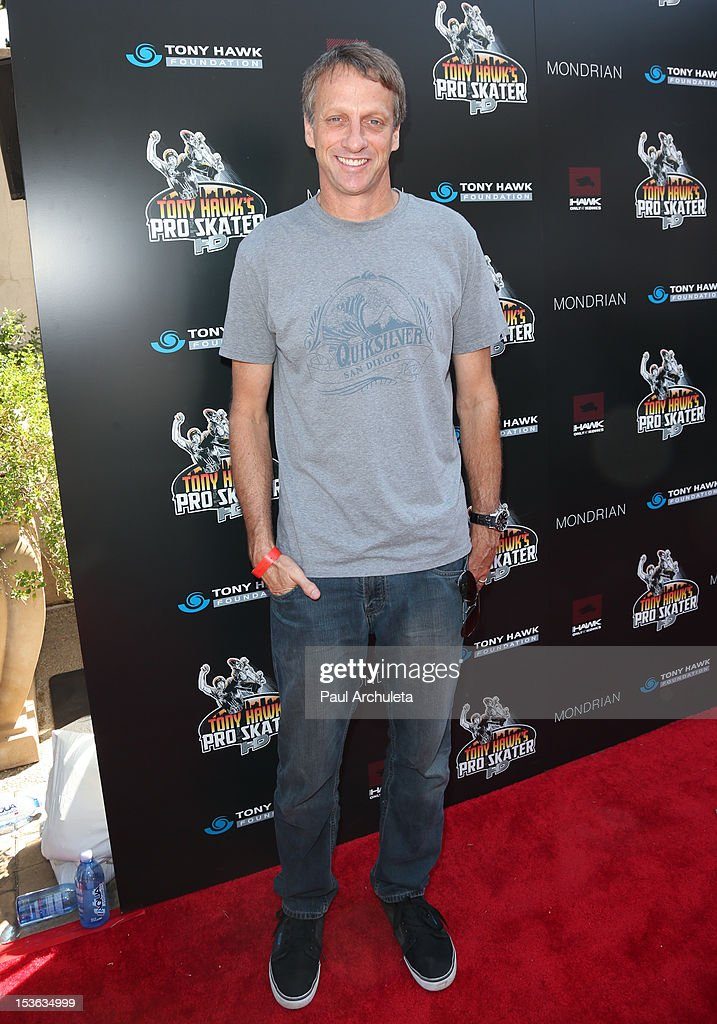 Pro Skateboarder Tony Hawk attends the 9th annual Stand Up For Skateparks benefit at Ron Burkle's Green Acres Estate on October 7, 2012 in Beverly Hills, California.
