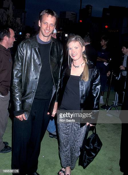 Pro skater Tony Hawk and wife Erin Lee attend the Freddy Got Fingered Westwood Premiere on April 18 2001 at the Mann Village Theatre in Westwood...