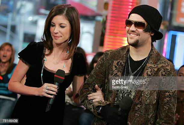 Pro skaterboarder Bam Margera and his fiance Melissa Missy Rothstein appear onstage during MTV's Total Request Live at the MTV Times Square Studios...