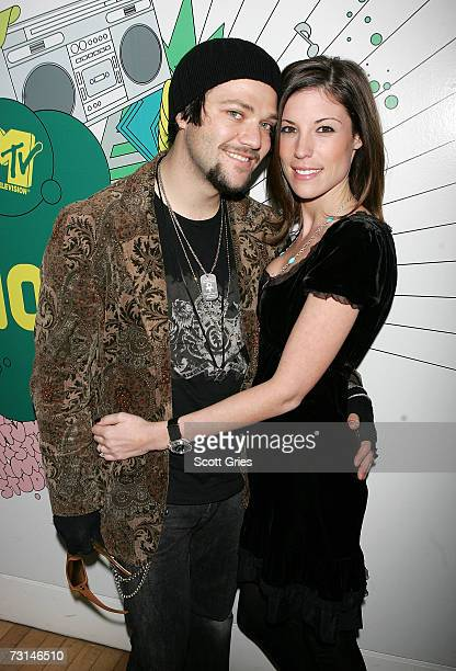 Pro skaterboarder Bam Margera and his fiance Melissa Missy Rothstein pose for a photo backstage during MTV's Total Request Live at the MTV Times...
