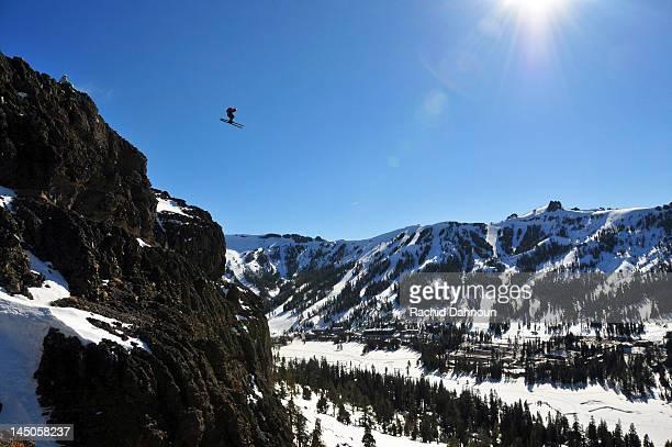 Pro skier Josh Daiek ski BASE jumping at Kirkwood Mountain Resort near South Lake Tahoe, CA.