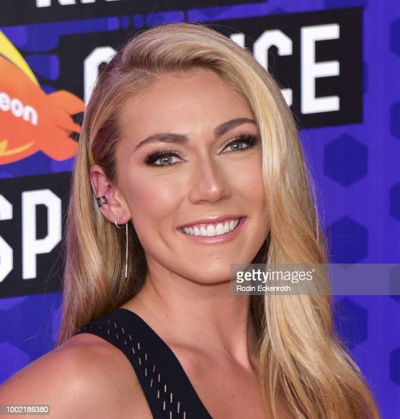 Pro skier Mikaela Shiffrin attends Nickelodeon Kids' Choice Sports Awards 2018 at Barker Hangar on July 19 2018 in Santa Monica California