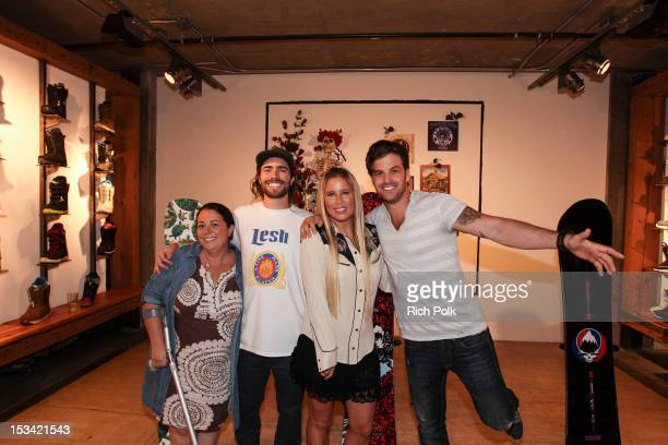 Pro Snowboarder Danny Davis AnneMarie Dacyshyn and Johnny Bananas attend the Burton x Grateful Dead Collab Launch Party on October 4 2012 in Los...