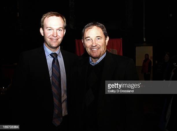 Pro Snowboarder Luke Mitrani and Salt Lake City Mayor Ben McAdams attend SLC Gala Green Room during the 2013 Sundance Film Festival at Rose Wagner...