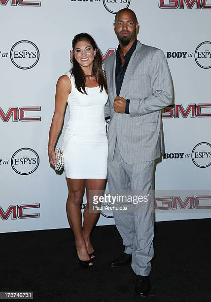 Pro Soccer Player Hope Solo and Former NFL Player Jerramy Stevens attend the ESPN's 5th Annual Body At ESPYS at Lure on July 16, 2013 in Hollywood,...