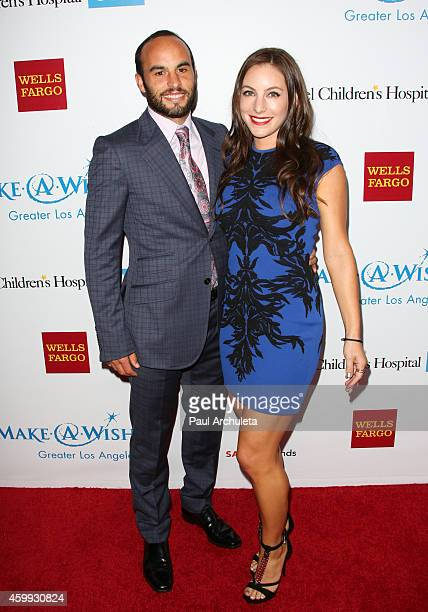 Pro Soccer Player Landon Donovan and His Girlfriend Hannah Bartell attend the 2nd Annual MakeAWish Wishing Well Winter Gala for a greater Los Angeles...