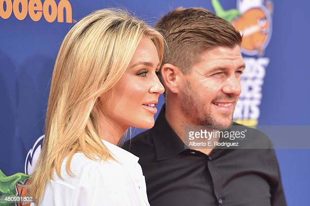 Pro Soccer player Steven Gerrard and model Alex Curran attend the Nickelodeon Kids' Choice Sports Awards 2015 at UCLA's Pauley Pavilion on July 16...