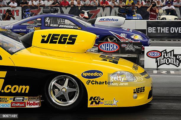 Pro Stock cars on the line during third round qualifying for the NHRA Carolinas Nationals on September 19 2009 at Zmax Dragway in Concord North...