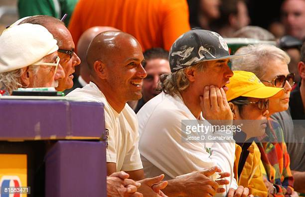 Pro sufer Kelly Slater and actor Jack Nicholson attends Game Five of the 2008 NBA Finals between the Boston Celtics and the Los Angeles Lakers on...