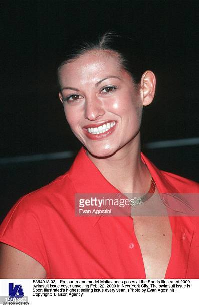 Pro surfer and model Malia Jones poses at the Sports Illustrated 2000 swimsuit issue cover unveiling Feb 22 2000 in New York City The swimsuit issue...