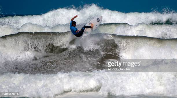 Pro surfer Deivid Silva of Brazil competes in the men's final at the Quicksilver Pro Casablanca surf competition on September 17 2017 in Casablanca...