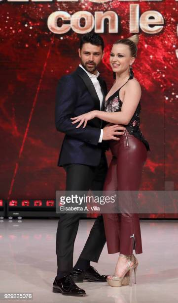 Pro Surfer Francisco Porcella and his dance partner Anastasia Kuzmina attend a photocall for 'Ballando Con Le Stelle' at RAI Auditorium on March 8...