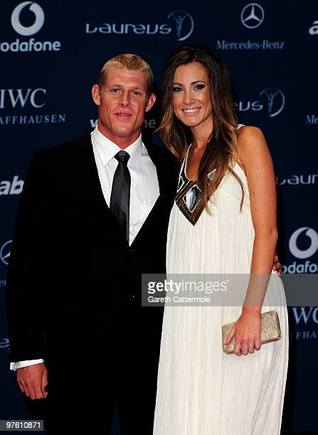 Pro surfer Mick Fanning and his wife Karissa arrives at the Laureus World Sports Awards 2010 at Emirates Palace Hotel on March 10 2010 in Abu Dhabi...