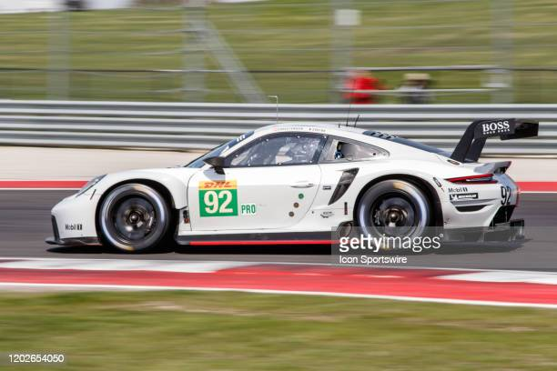 Pro Team Porsche Gt Team's Porsche 911 RSR - 19 at turn 19 during Free Practice 2 at the WEC Lone Star Le Mans held February 22 at the Circuit of the...