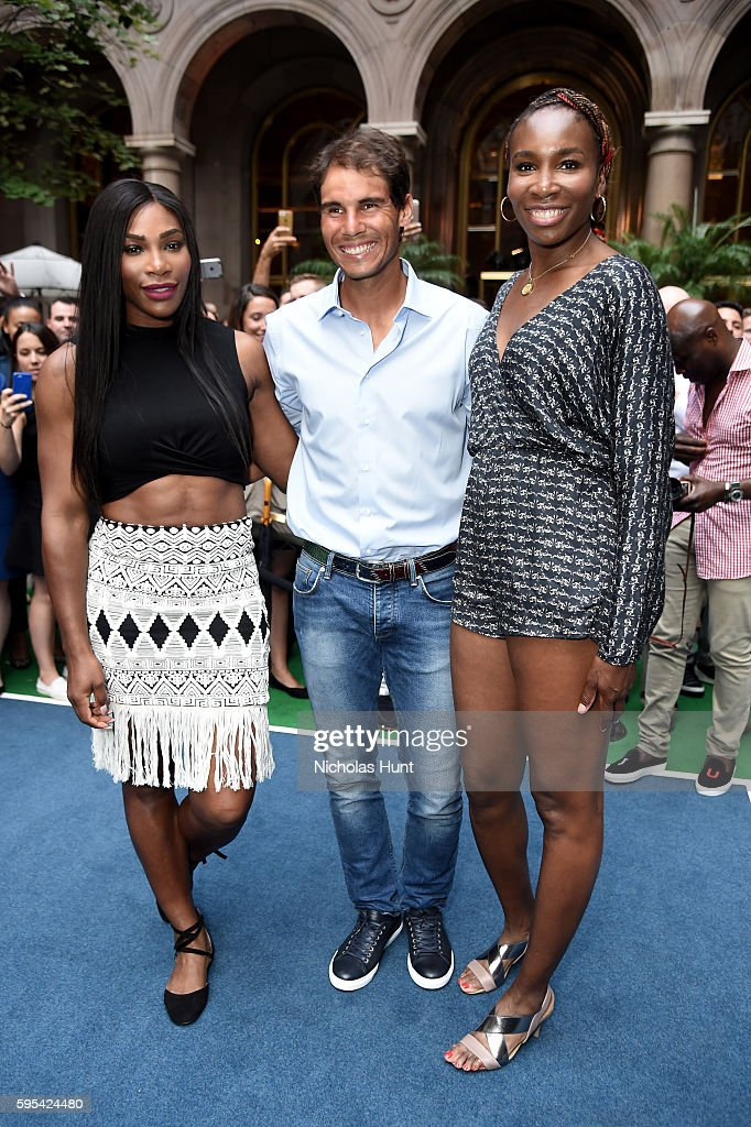 Pro Tennis players Serena Williams, Rafal Nadal, and Venus Williams attend the Wii Tennis Tournament at Lotte New York Palace on August 25, 2016 in New York City.