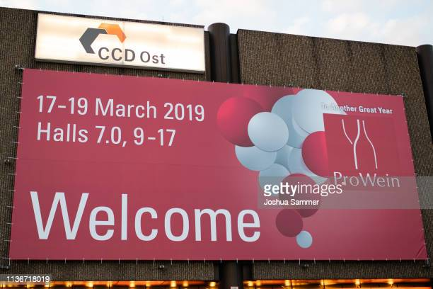 Pro Wein Fair Duesseldorf' banner at Messe Duesseldorf on March 18, 2019 in Duesseldorf, Germany.