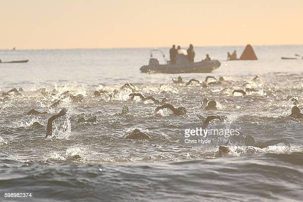 Pro Women finish the Swim during Ironman 70.3 World Championship on September 4, 2016 in Sunshine Coast, Australia.