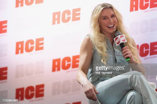 Pro Wrestler and WWE Superstar Charlotte Flair speaks onstage during ACE Comic Con at Century Link Field Event Center on June 28 2019 in Seattle...