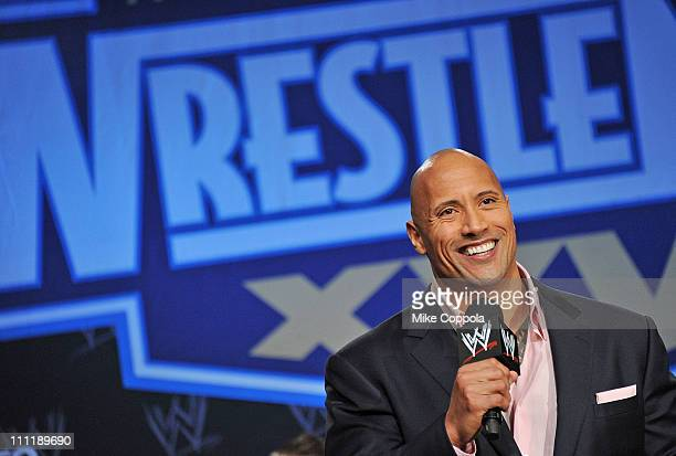 Pro wrestler Dwayne The Rock Johnson attends the WrestleMania XXVII press conference at Hard Rock Cafe New York on March 30 2011 in New York City