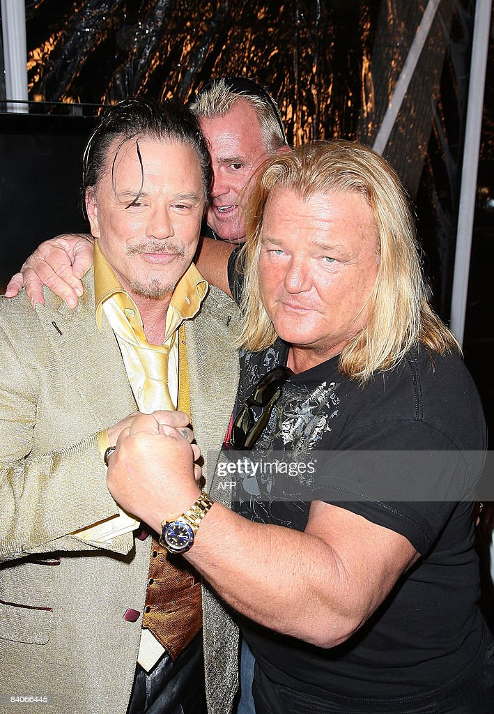 Pro Wrestler Greg Valentine And Actor Mickey Rourke Arrive For The Premiere  Of The Wrestler In