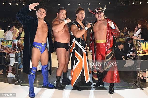 Pro wrestlers Hiroyoshi Tenzan, Yuji Nagata, Nakanishi Manabu and Satoshi Kojima attend the 'Mad Max: Fury Road' Japan premiere at Tokyo Dome City...