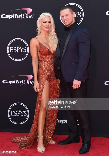 Pro wrestlers Maryse Ouellet and Michael Mizanin arrive at the 2017 ESPYS at Microsoft Theater on July 12 2017 in Los Angeles California