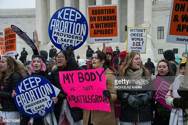 Proabortion activists gather in front of the US Supreme Court in Washington DC 0n January 22 2016 as the country marks the 43rd anniversary of the...