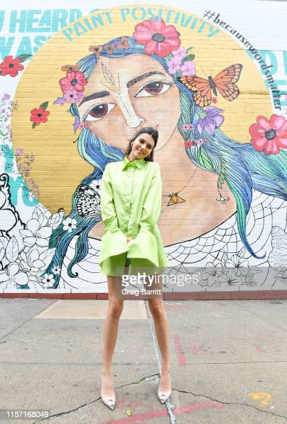 Proactiv Brand Ambassador Kendall Jenner stops by the #PaintPositivity #BecauseWordsMatter mural in Williamsburg on June 20, 2019 in Brooklyn, New...
