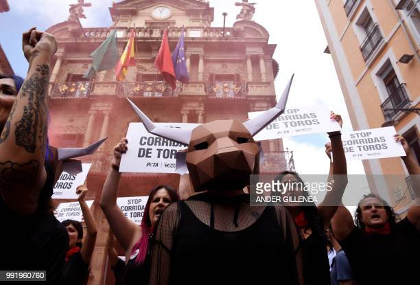 Proanimal rights activists protest against bullfighting and bullrunning during a demonstration called by the People for the Ethical Treatment of...