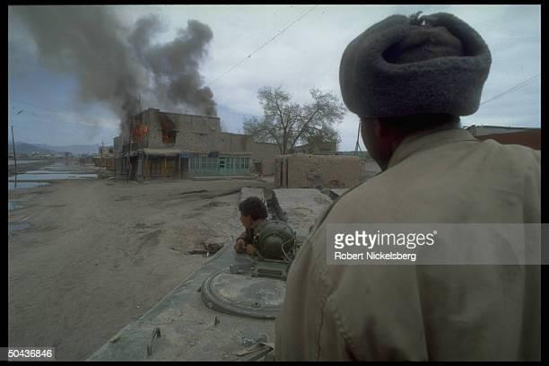 Prob. Dostam-led Uzbek militia vehicle hitting position of dissident Hekmatyar mujahedin, interim govt. Allies in after Najibullah internecine...