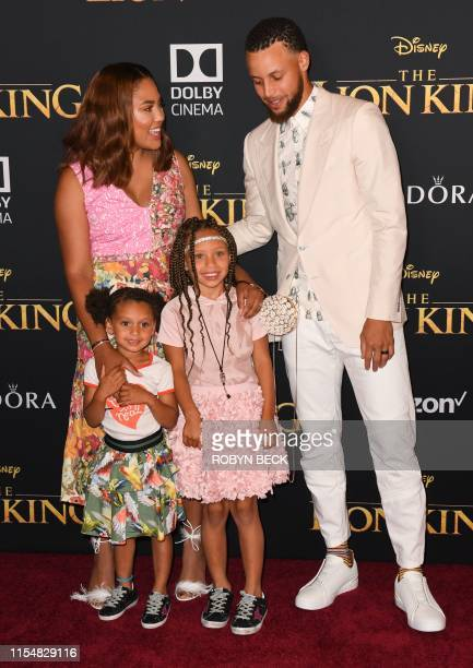 US probasketball player Steph Curry his wife Ayesha Curry and daughters Ryan and Riley arrive for the world premiere of Disney's The Lion King at the...