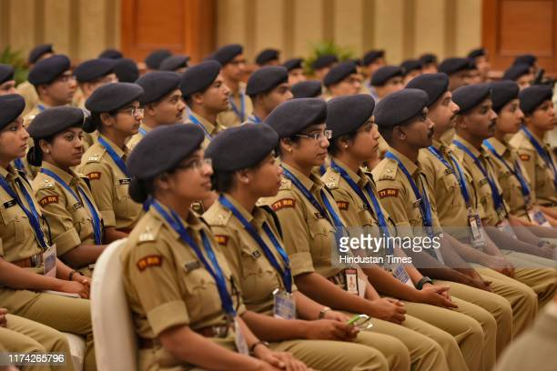 Probationers of the 2018 Batch of Indian Police Service are seen during a meeting with Home Minister Amit Shah at Maharashtra Sadan, on October 7,...