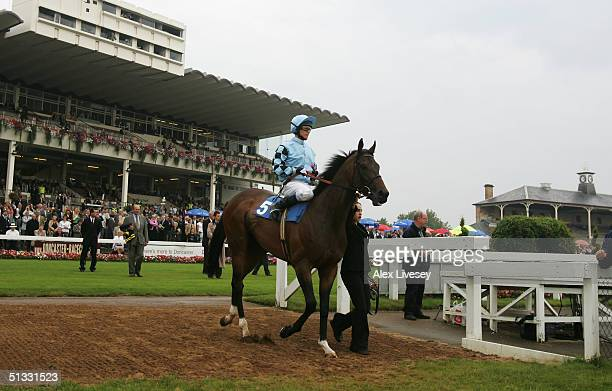 Robinson on Red Fort before the Gilbey Brothers Silver Microphone Conditions Guaranteed Sweepstakes at Doncaster Racecourse on September 10 2004 in...