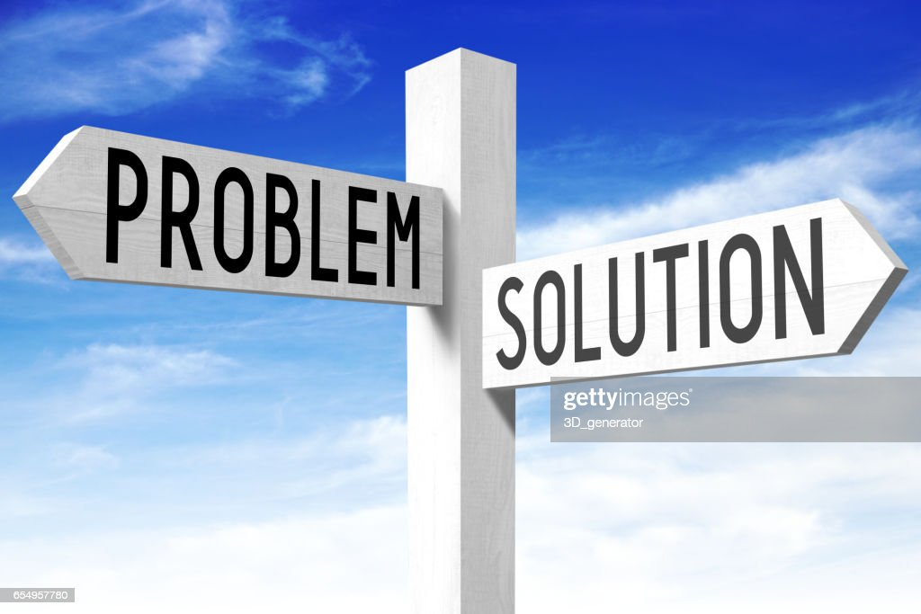 Problem Solution Wooden Signpost Stock Photo - Getty Images