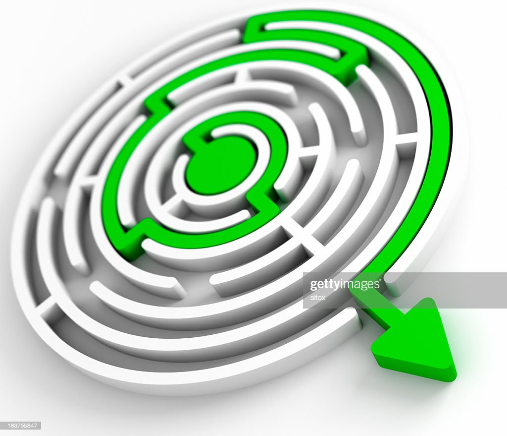 Problem Solving Model With Circular Maze Path To The Exit Stock
