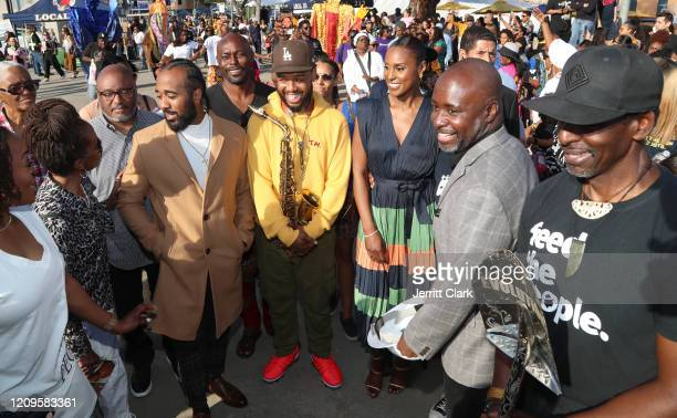 Problem Terrace Martin Issa Rae and Marqueece HarrisDawson and Ron Finley attend Destination Crenshaw Groundbreaking Event with over 2000 community...