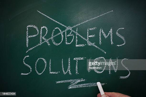 problems solutions chalk board - solution stock pictures, royalty-free photos & images